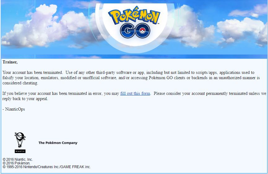 pokemon go account permanent ban